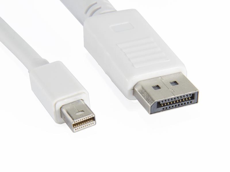 DisplayPort hane till Mini DisplayPort hane vit 1,5m