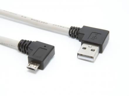 Högervinklad USB A till högervinklad microUSB B - 1m