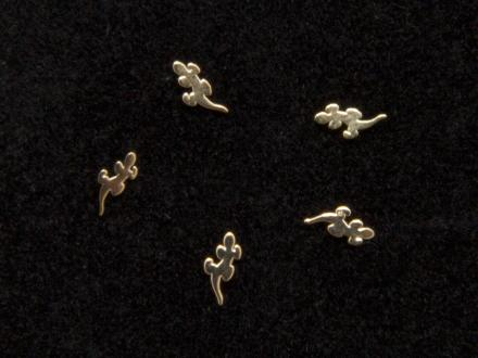 Nageldekorationer, Ödlor guldfärgade - 10st