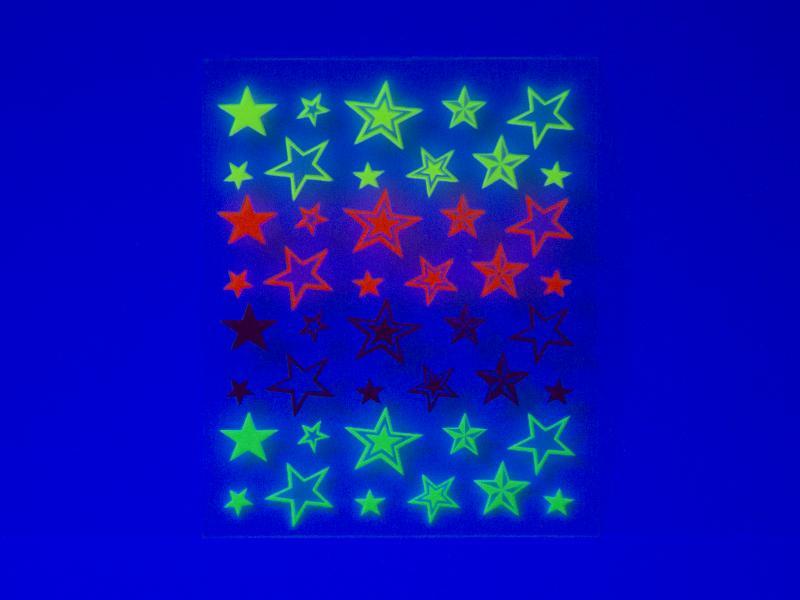 Nagelstickers - Stjärnor flouroserande
