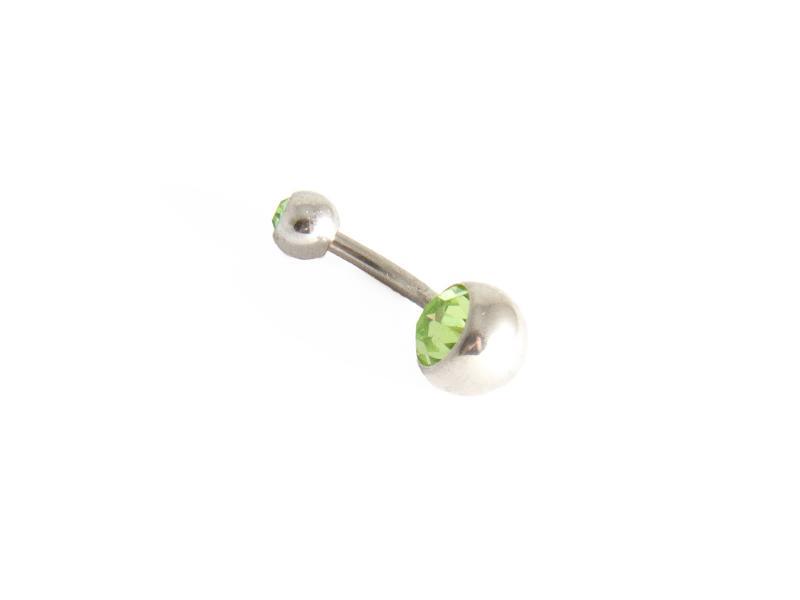 Navelpiercing med grön sten