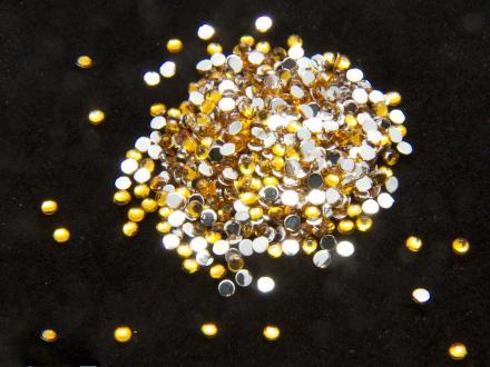 Rhinestones, nageldekorationer - 1,5mm - Guld