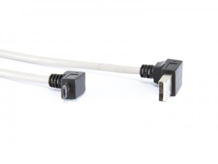 Uppåtvinklad USB A till uppåtvinklad microUSB B - 1m