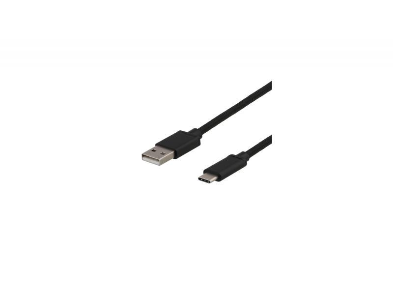 USBC 2.0 kabel, 3 meter tygklädd (svart)