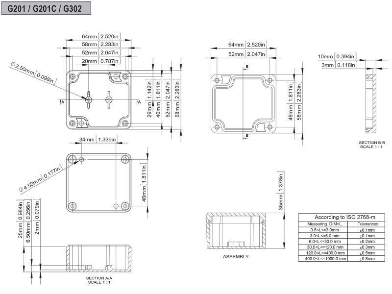 Vattentät inbyggnadslåda 64x58x35 mm