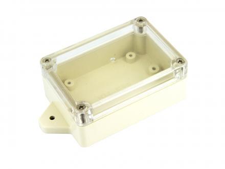 Vattentät inbyggnadslåda, transparent lock 115x59x35 mm