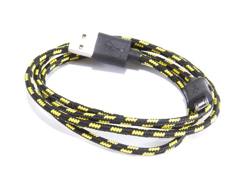 MicroUSB-kabel, svart/gul textil, 1 meter